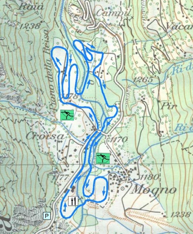 Cartina tracciato sci di fondo Mogno